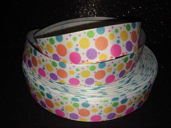 "summery polka dots 1"" grosgrain ribbon 2 yard listing"