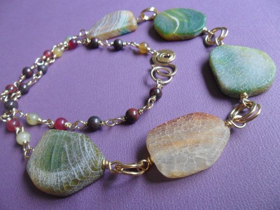 Green Fire Agate Necklace Gift Boxed by by EarthMagicAndRocks, $25.00