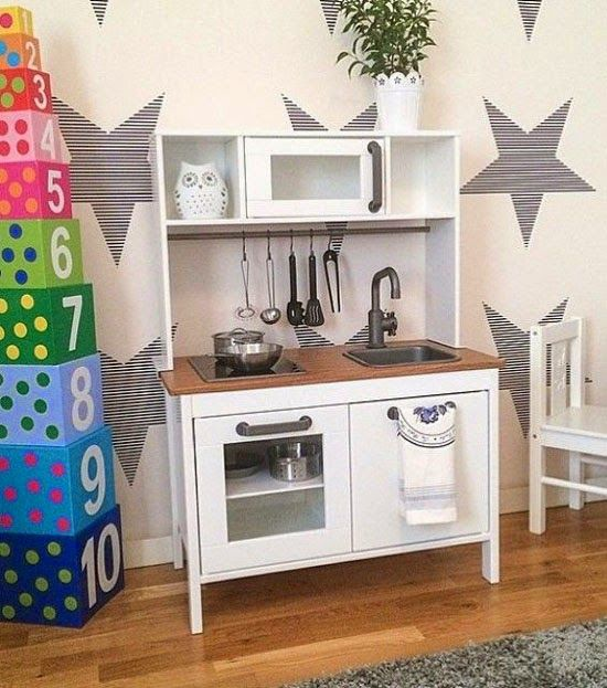 IKEA Play Kitchen Makeover: Paint Entire Thing White And Stain Countertop.  Ikea Spielküche,
