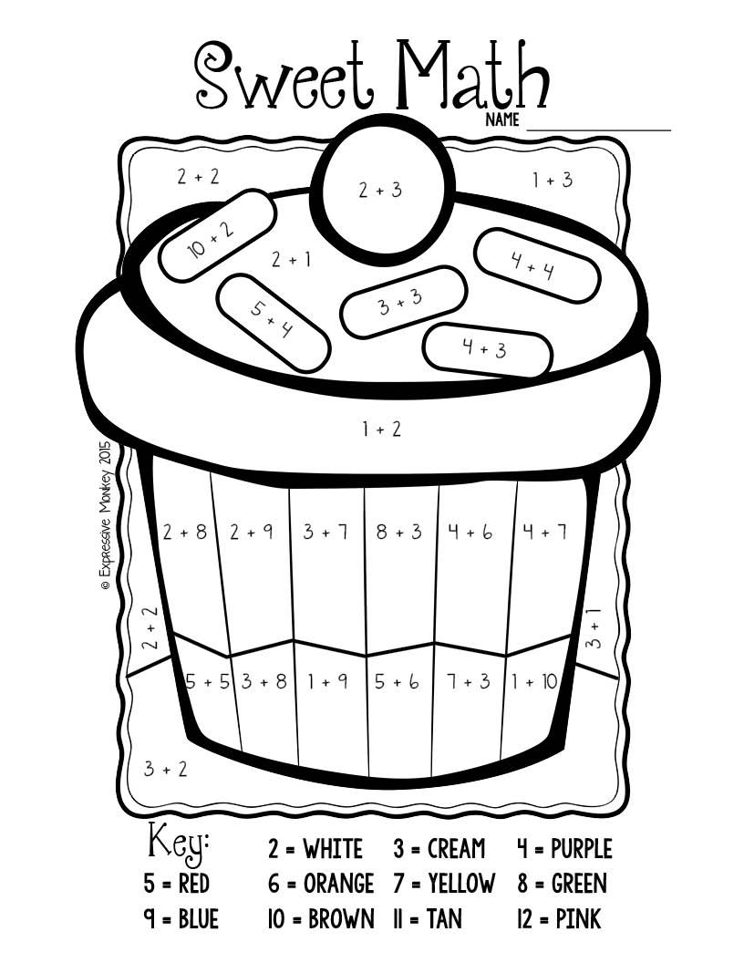 cupcake coloring sweet math addition math math addition and