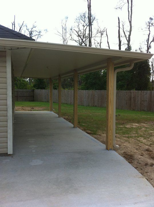 Aluminum Patio Cover With Wooden Posts