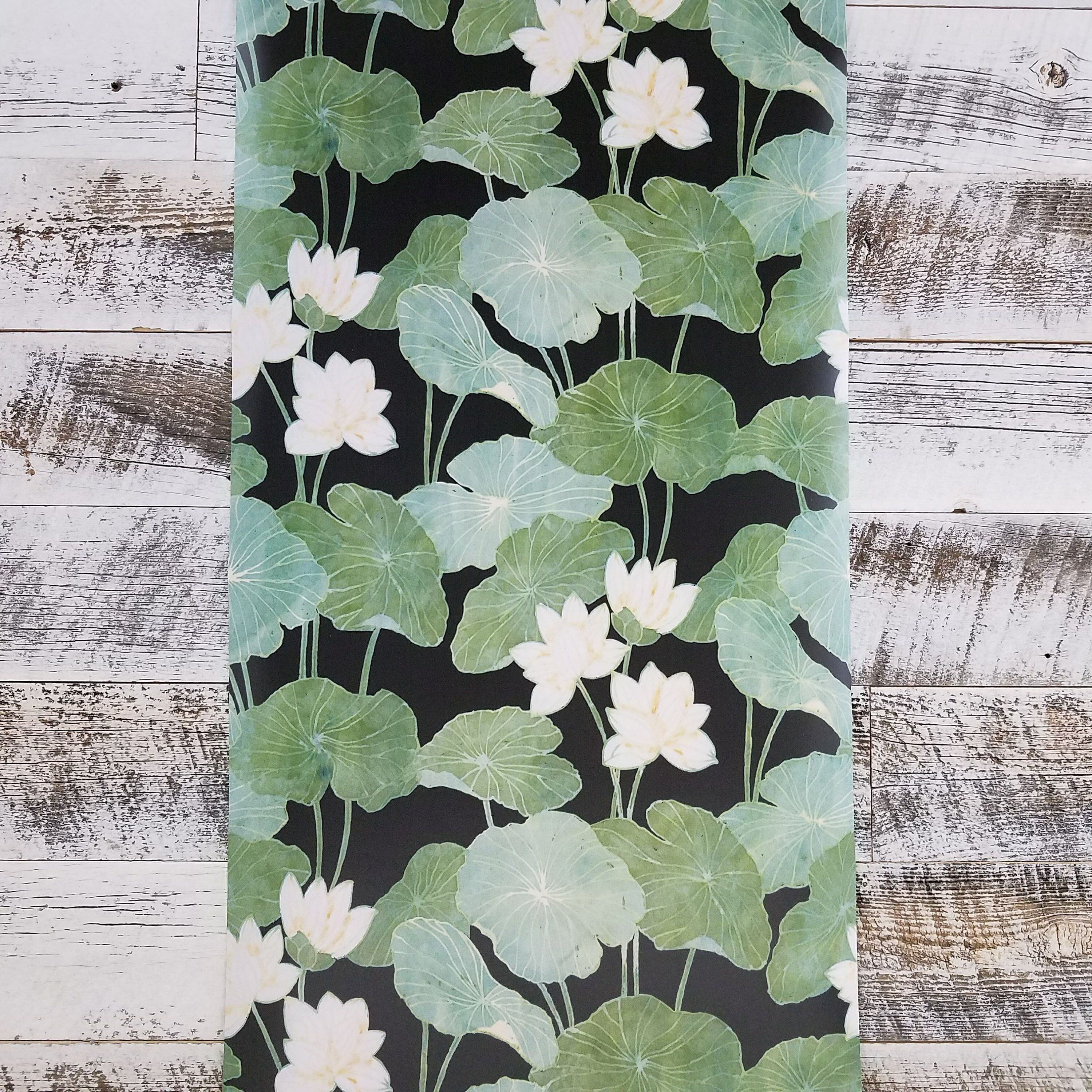 Roommates Lily Pads Peel And Stick Black And Green Wallpaper Etsy In 2020 Vintage Floral Wallpapers Floral Wallpaper Green Wallpaper