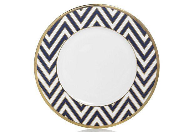 S/4 Zigzag Accent Plates, Blue/Gold on OneKingsLane.com