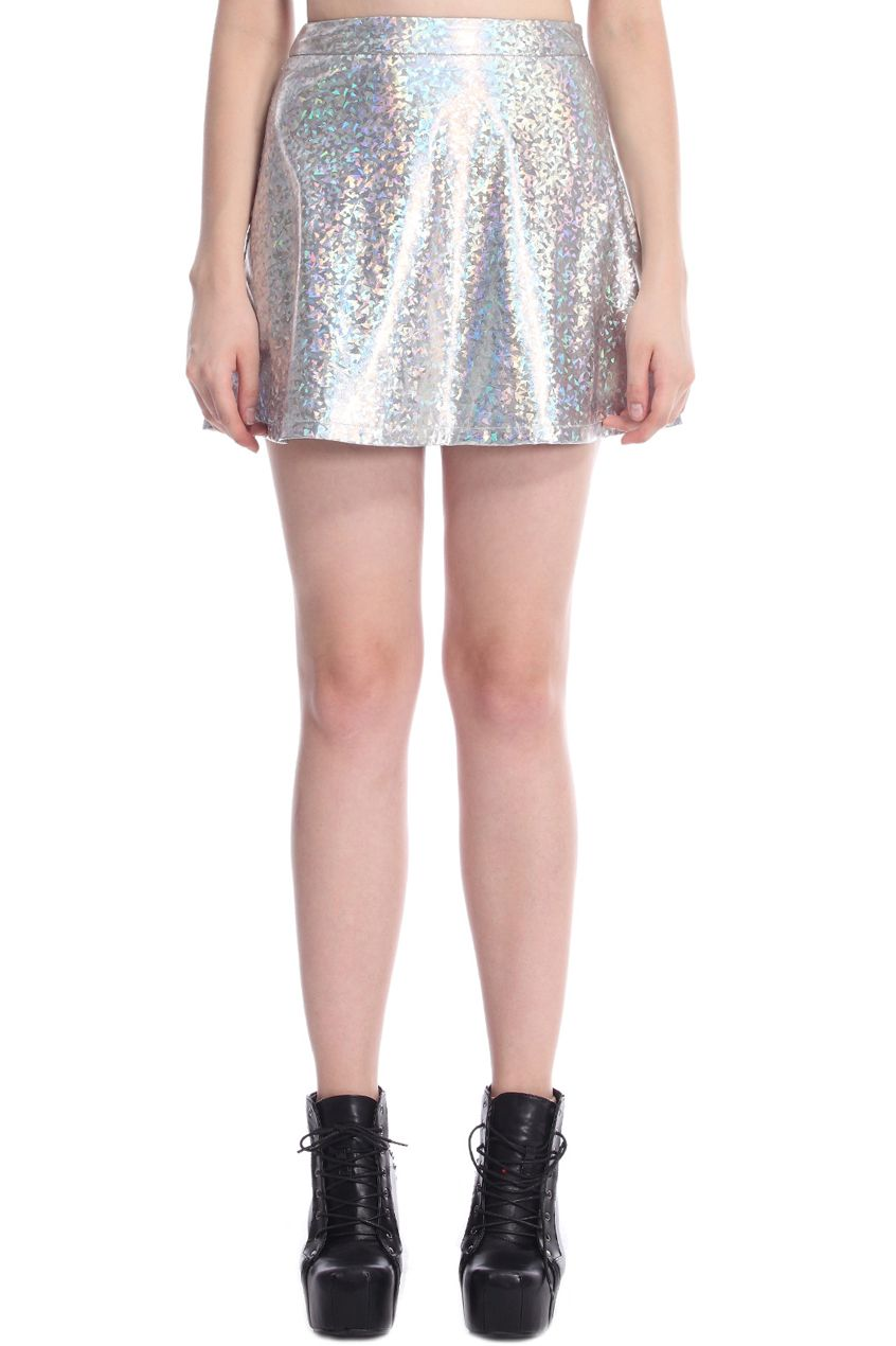 ROMWE | ROMWE Colorful Holographic Material Vinyl Skirt, The Latest Street Fashion