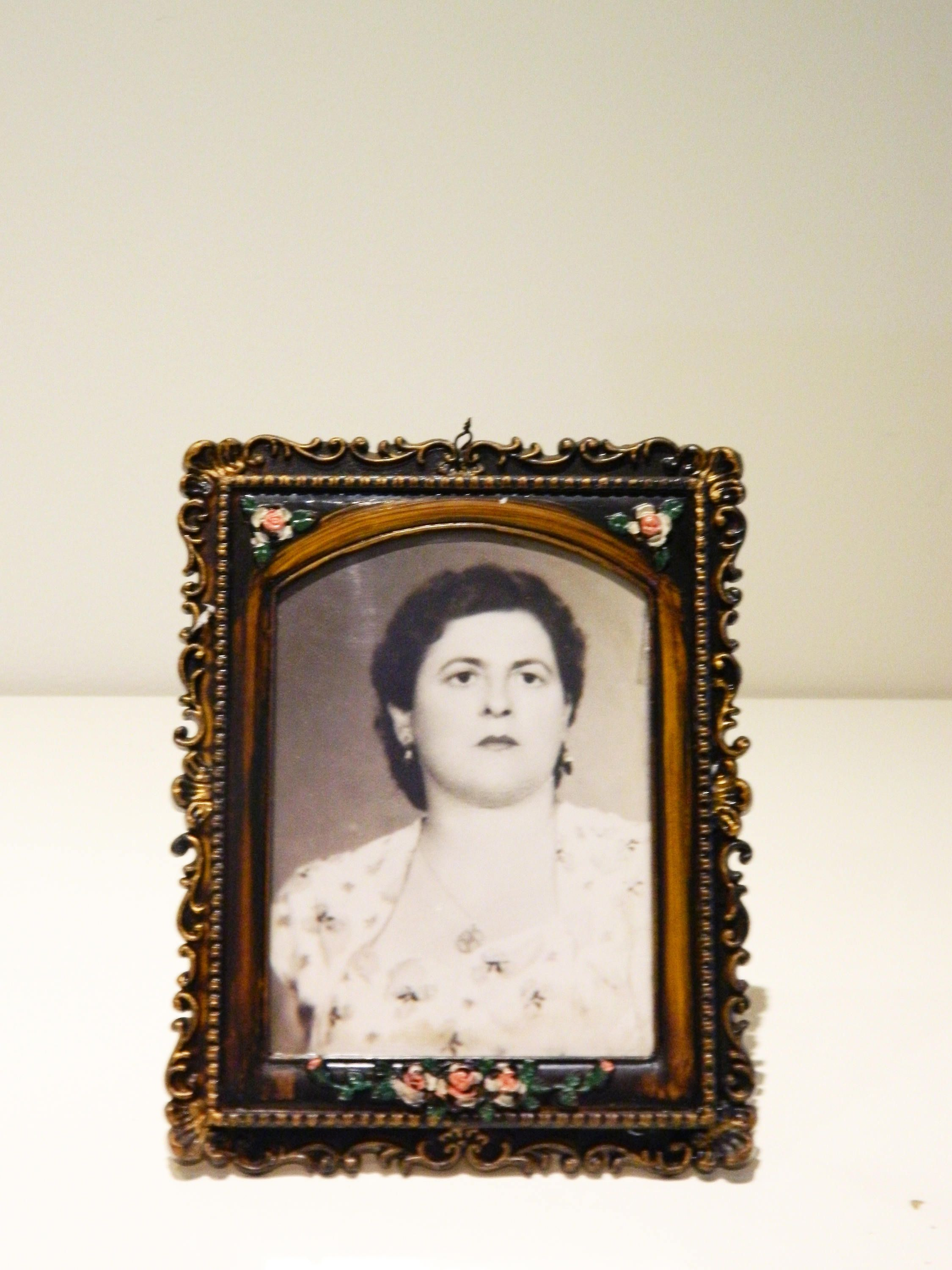 Vintage Plastic Floral Frame With Black And White