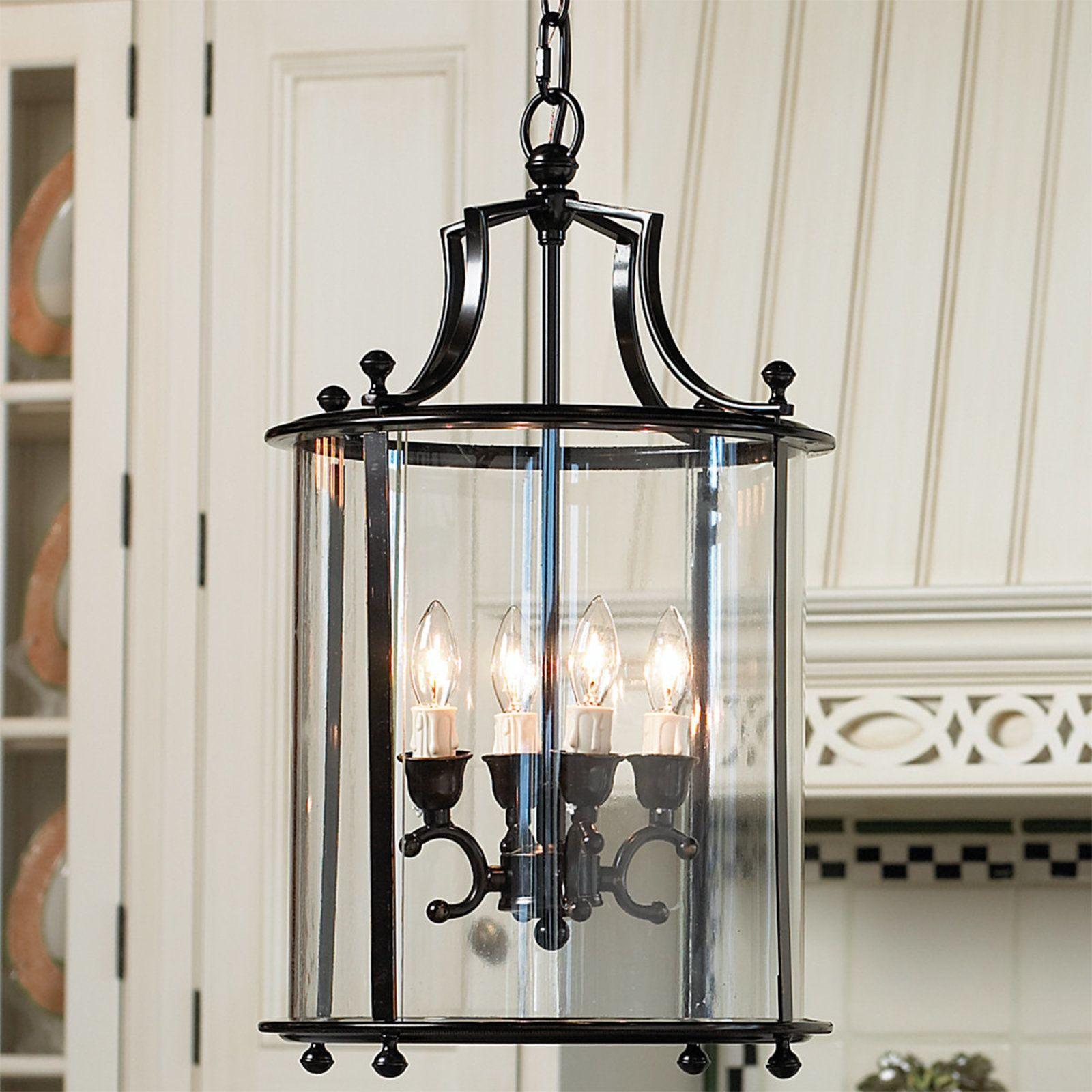 Entry or breakfast area heritage hanging lantern blackened bronze
