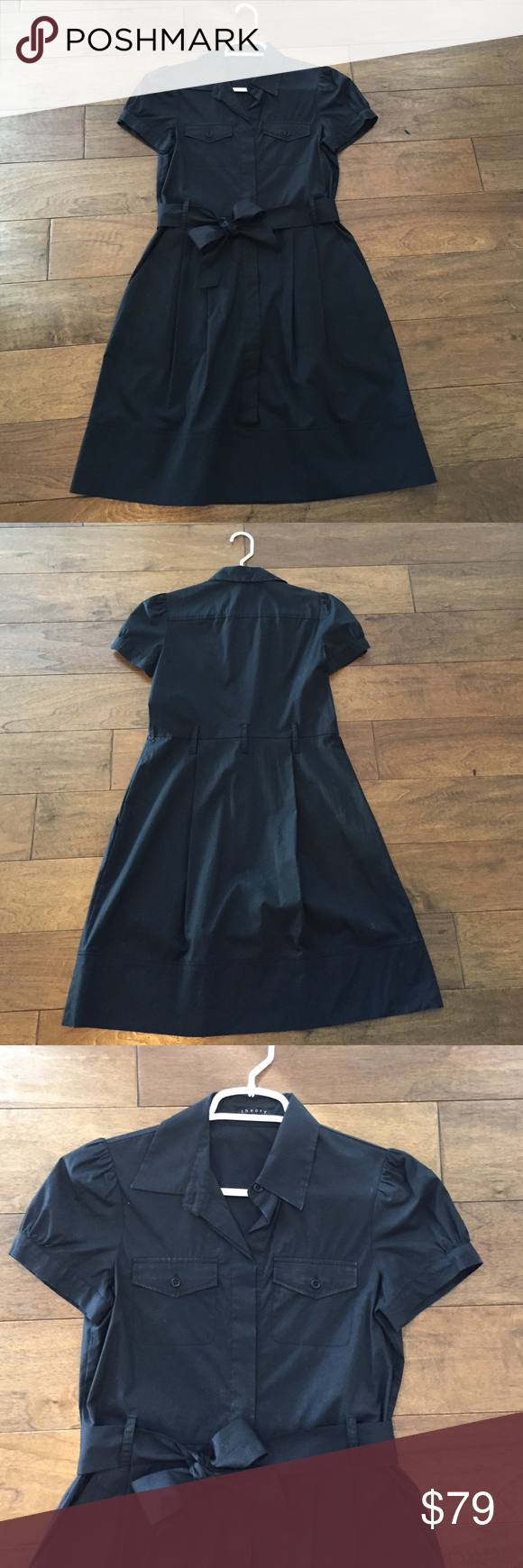 Theory black dress Theory black work dress with black ribbon belt tie. Never worn. Theory Dresses