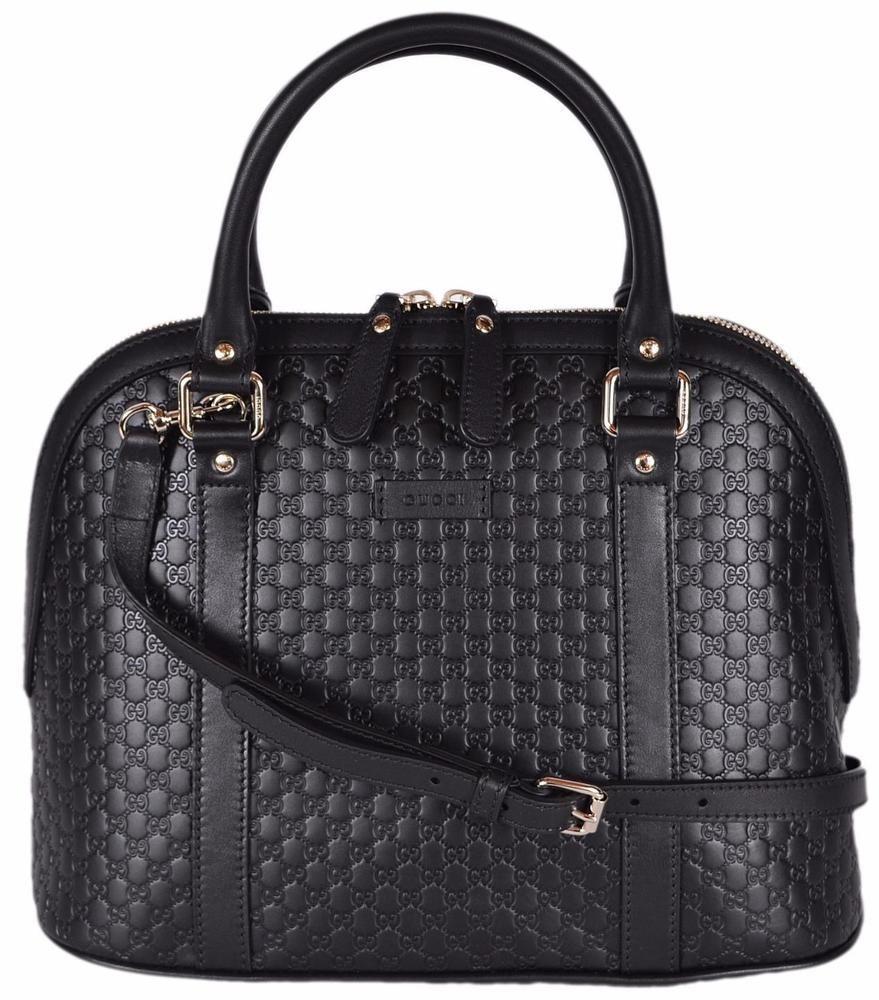 b3faa7e5e036 NEW Gucci 449663 Black Leather Medium Convertible Micro GG Dome Satchel  Purse  Gucci  Satchel