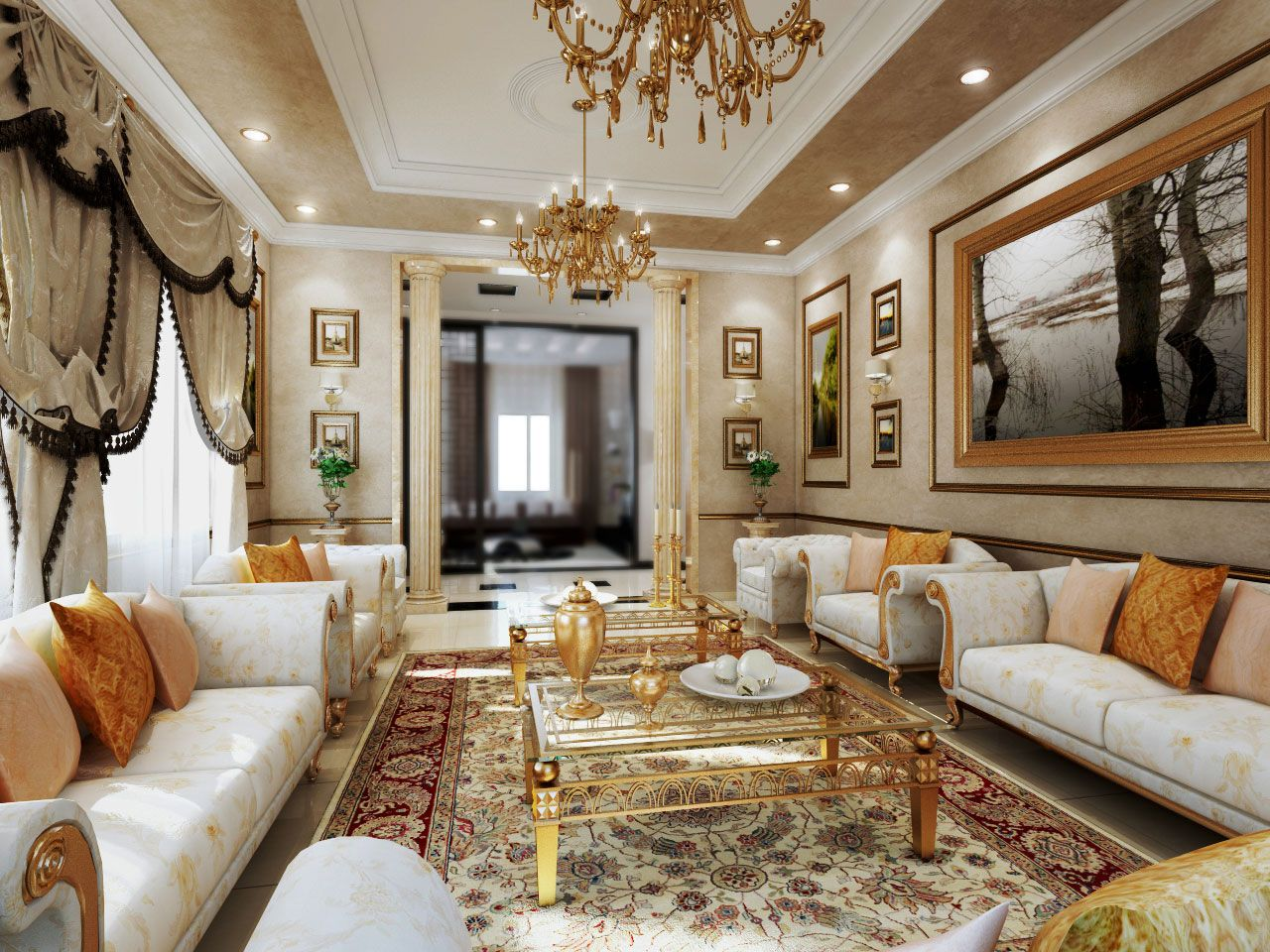 nice internal house design. Furniture  Classic Interior Design Ideas With Amazing White Sofas And Cool Square Glass Tables In Nice Gold Legs Also Elegant Crystal Chandelier Modern Spacious nice drapes and elegantly decorated The royal touch