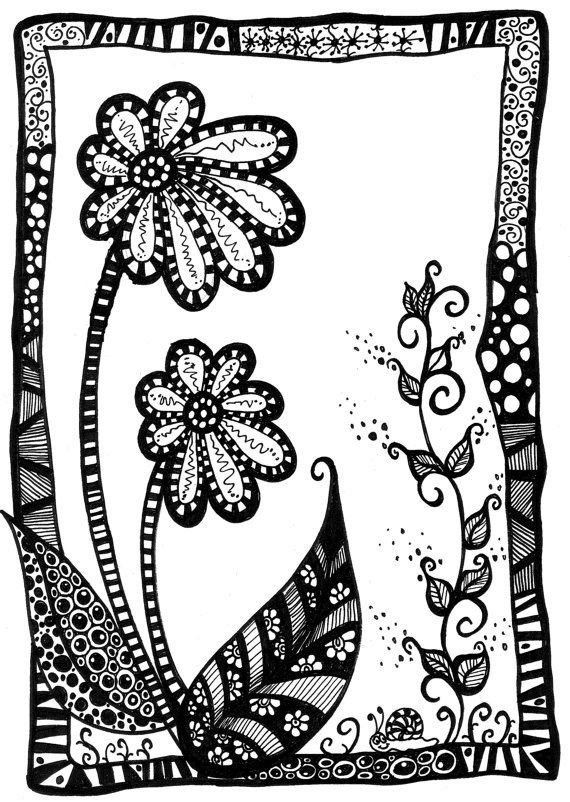 Zentangle Flowers // Spring Flowers // by ShatteredVisAbility
