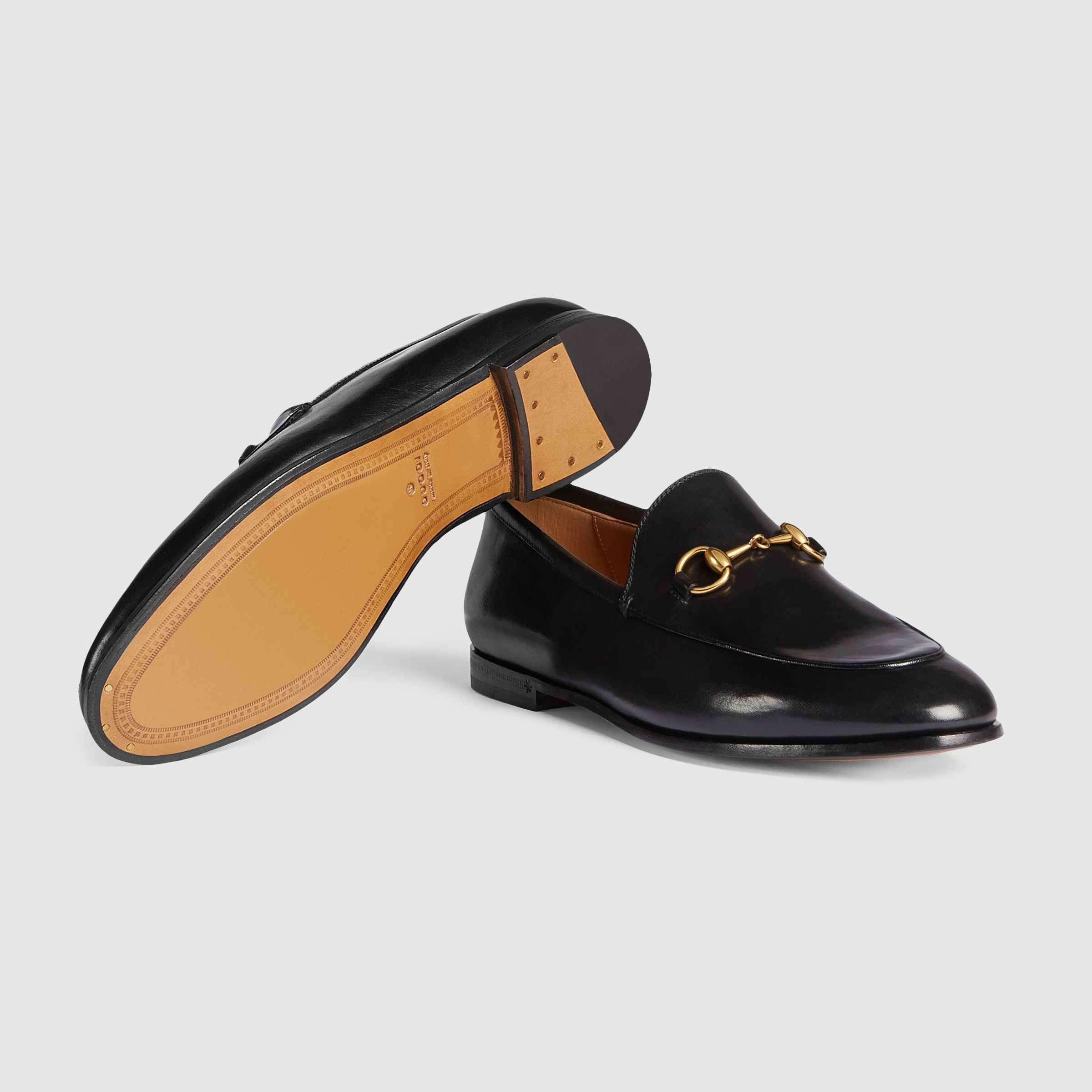 60b66a900 Shop the Gucci Jordaan leather loafer by Gucci. The Gucci Jordaan is our  new Horsebit loafer with a slimmer shape and Horsebit.