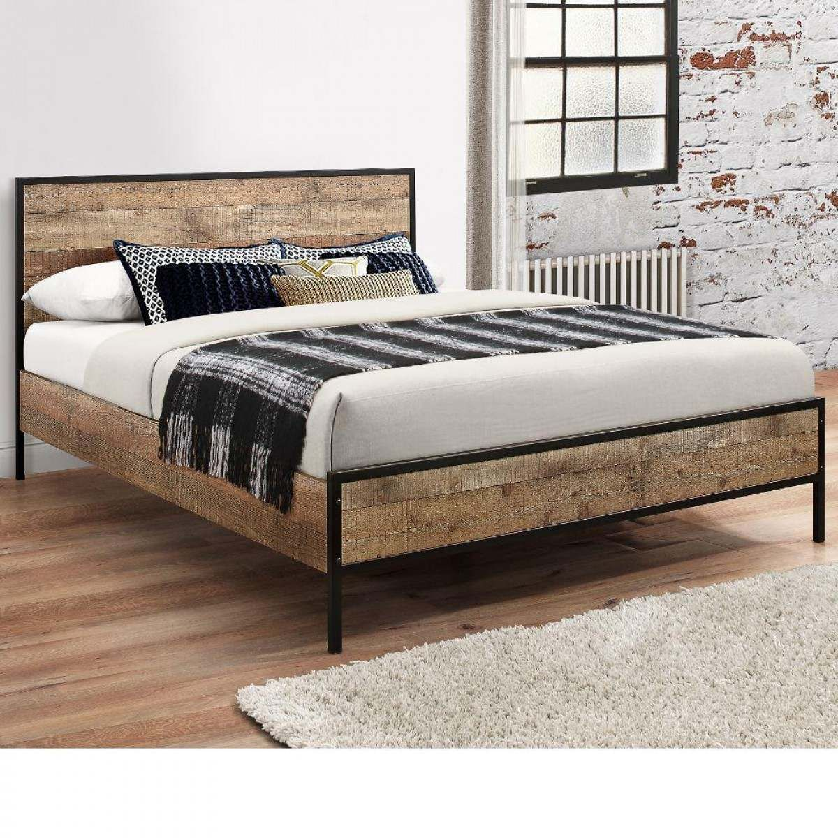 Urban Rustic Wooden And Metal Bed Rustic Wooden Bed Wooden King