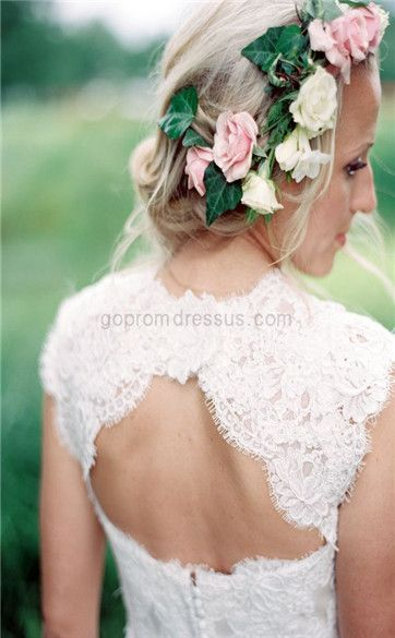 lace wedding dress really thick lace so I can wear a real bra