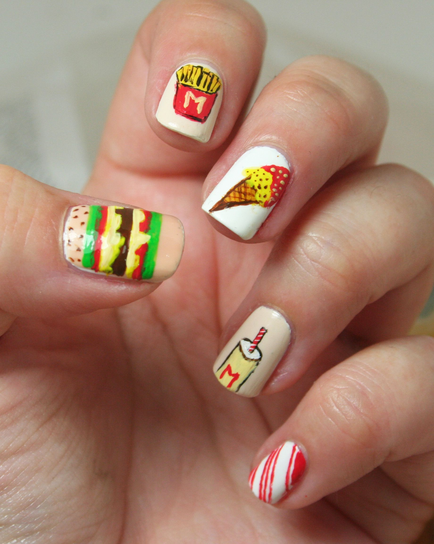 Nail art Fast Food | Food nails, Cute nails, Cute nail art designs