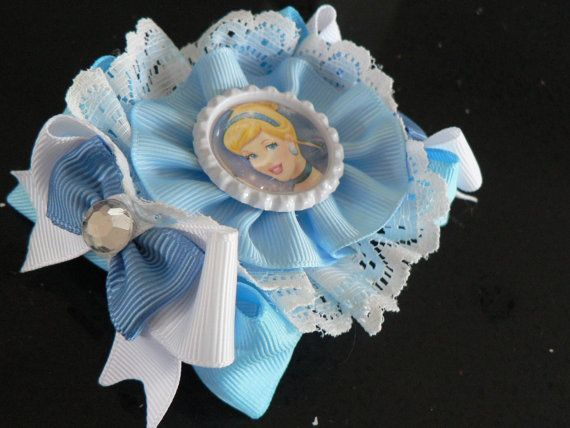 Handmade Girls Cinderella Hair Bow Clip Aprox 4 inch   Sold as Single SALE