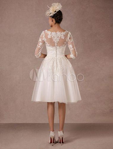 Damen Vintage Brautkleid 2019 Kurz Vintage Spitze Lange Armel A