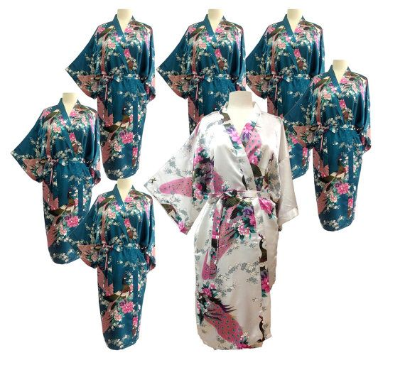 Set  7 Kimono Robes Bridesmaids Silk Satin by ToongngeanToongtong, $147.00