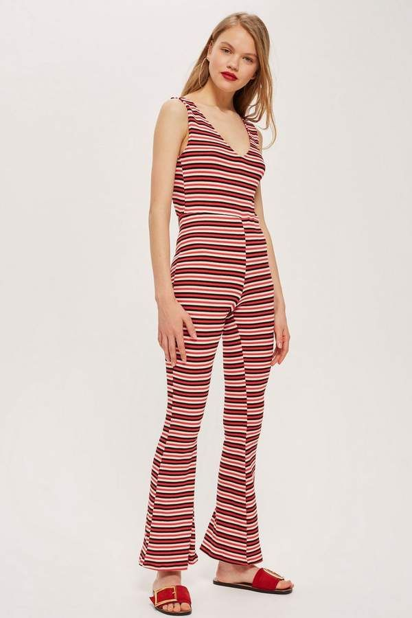 23a7a0083e Stripe Plunge Jumpsuit - Rompers   Jumpsuits - Clothing in 2018 ...