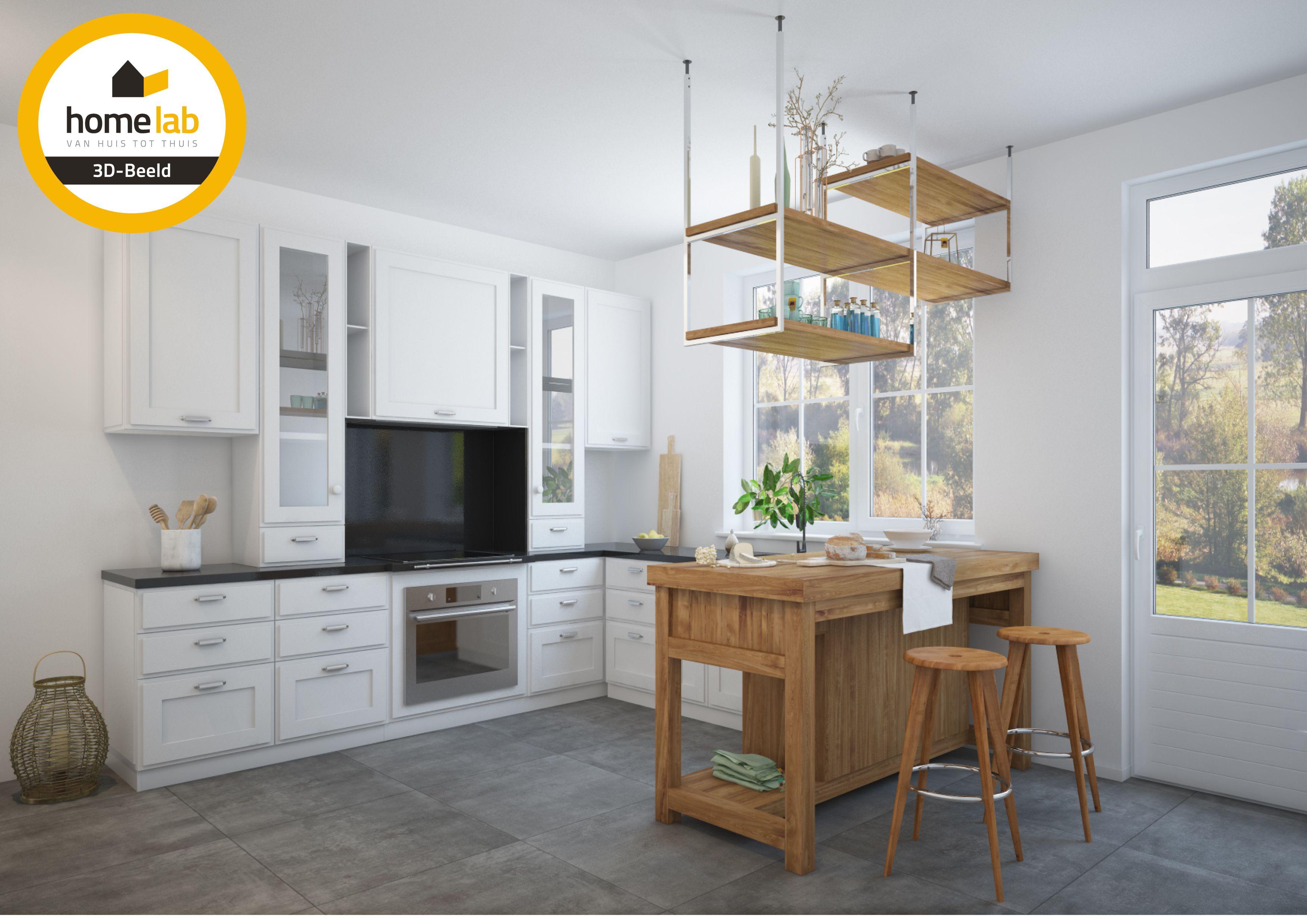 Keuken hout villa tongeren renovatie tafel keukenwand