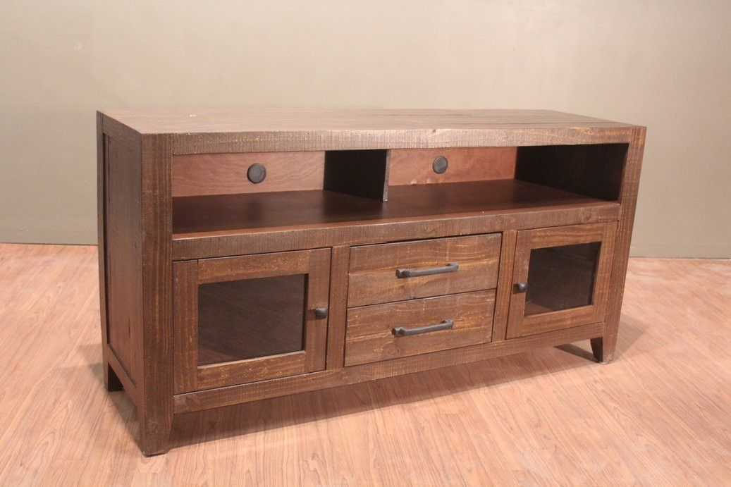 Greenview 62 Inch Rustic Tv Stand With Glass Doors Tv Stand