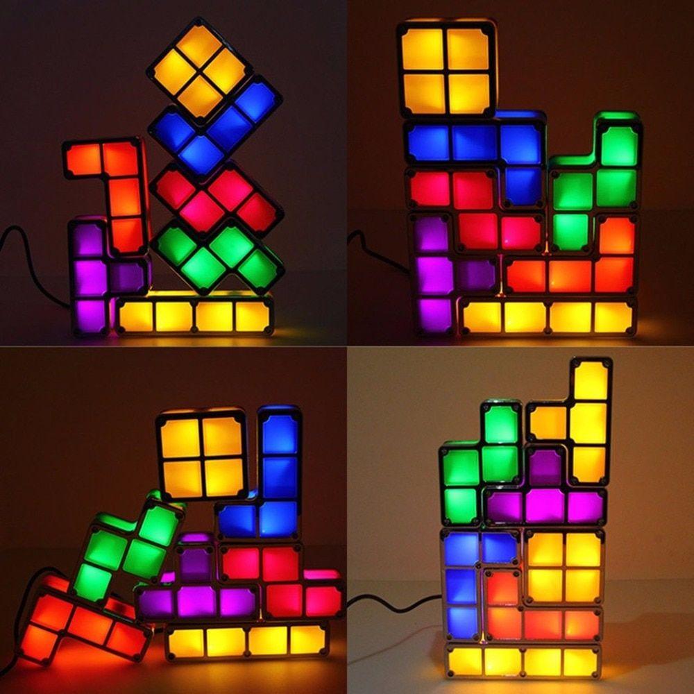 Diy Tetris Puzzle Light Constructible Block Stackable Led Night Light Desk Lamp Game Tower Children Colorful Bri Puzzle Lights Led Night Light Novelty Lighting