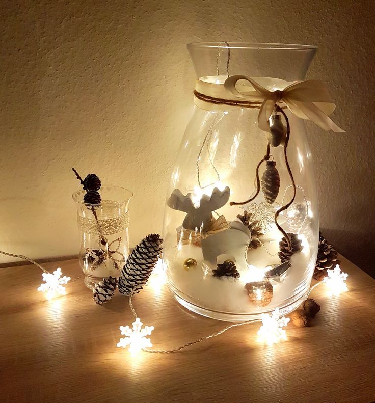 DIY Weihnachten Deko: Großes Glas dekorieren mit Zauberwatte/Füllwatte als Schnee, Kugeln oder Figuren nach Wahl, Lichterkette #weihnachtsdekoglas