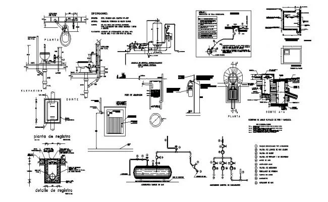 Gas installation and plumbing details of house dwg file