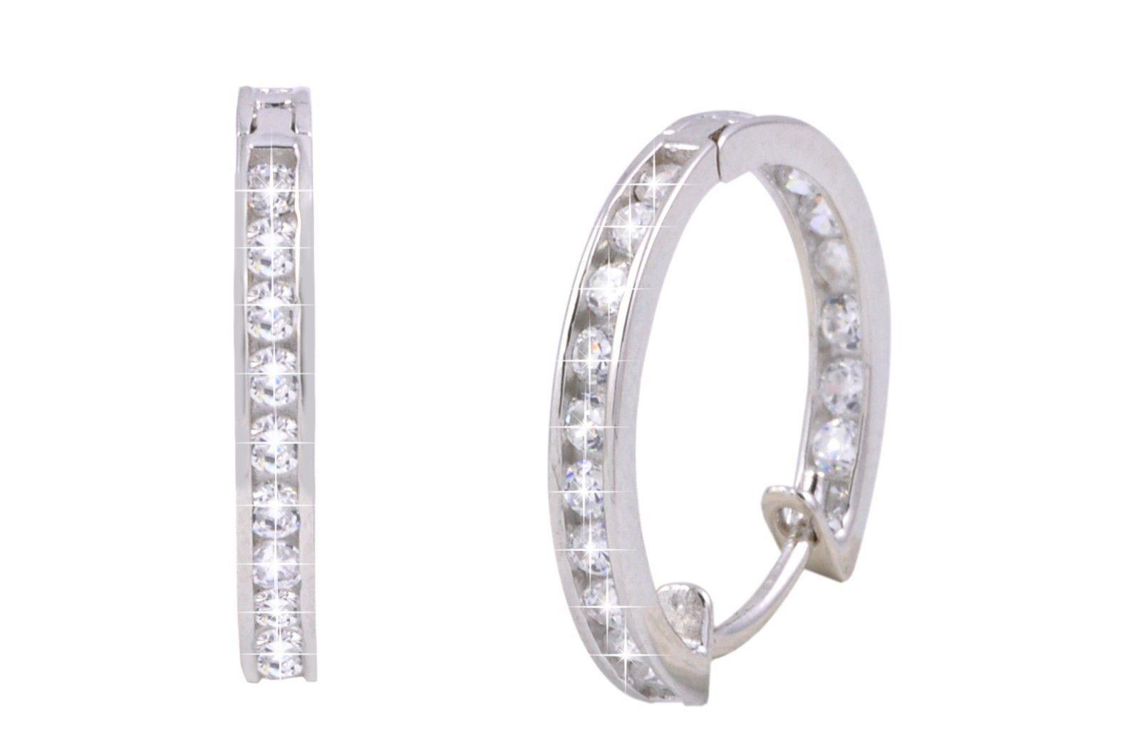 6adc19b298d21 CZ Huggie Hoop Earrings Hinged Cubic Zirconia 925 Sterling Silver ...