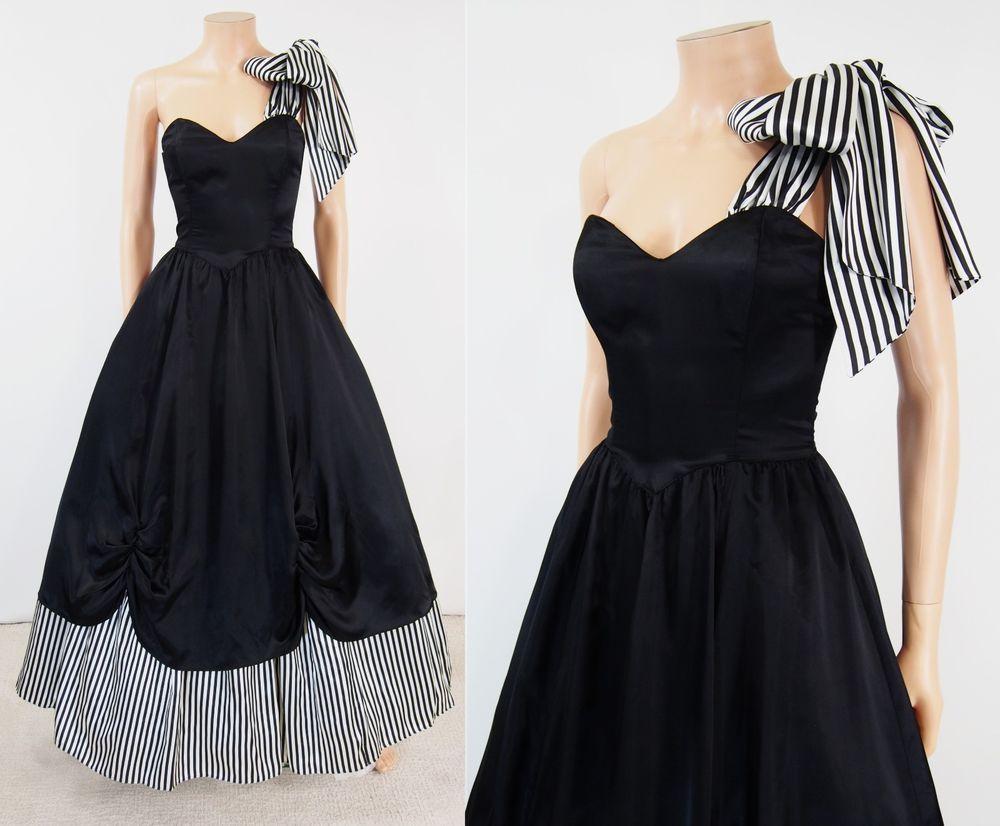 Vtg s gunne sax black u white one shoulder bow ball gown saloon