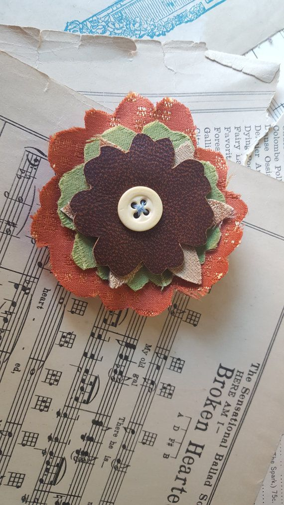 Hair Barrette Handmade Fabric Floral Hair by TheRaggedyBouquet