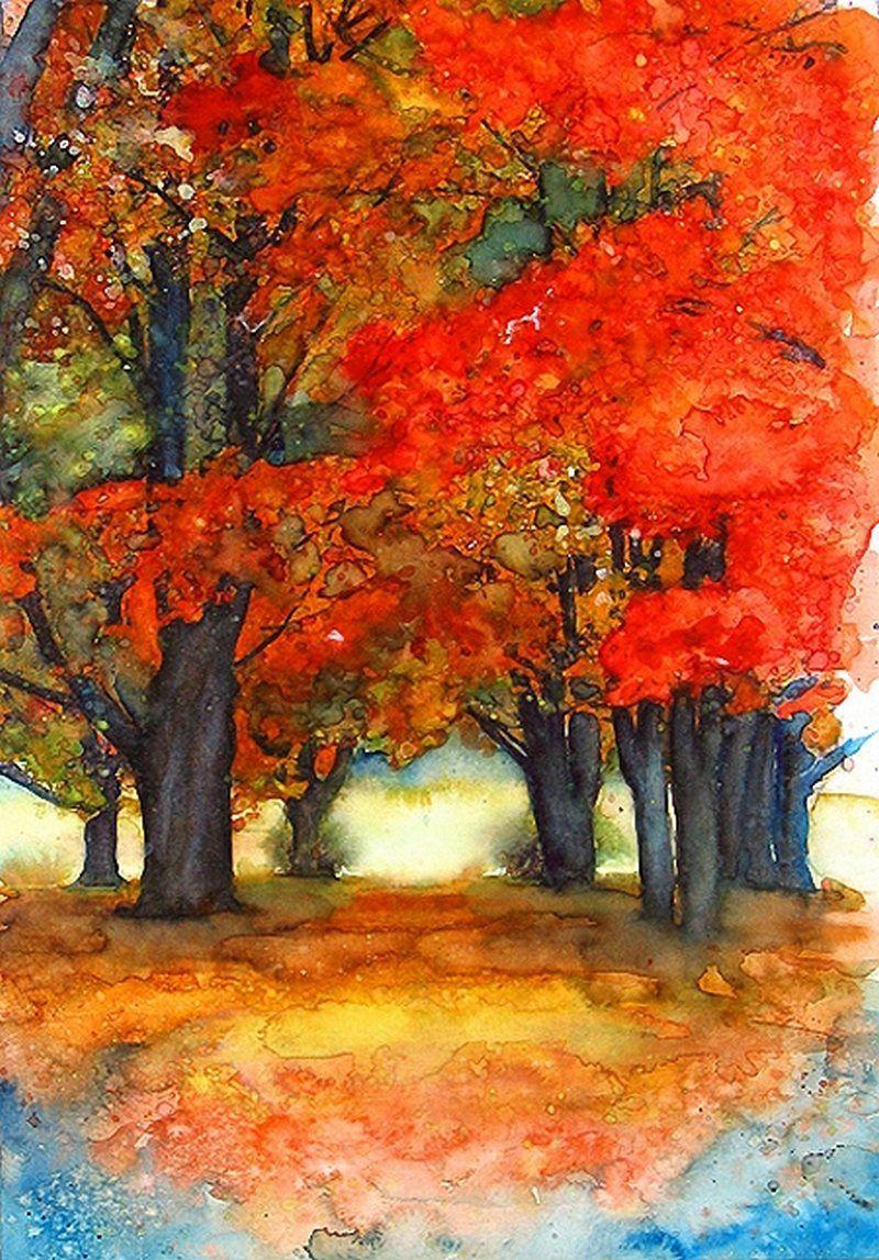 Watercolor Trees Pinturas De Arboles Arte De Acuarela Pintura