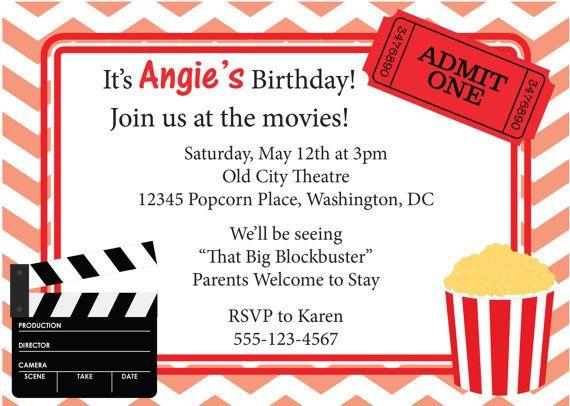 Movie Birthday Invitations Movie Night Birthday Party Invitation – Free Printable Movie Ticket Template