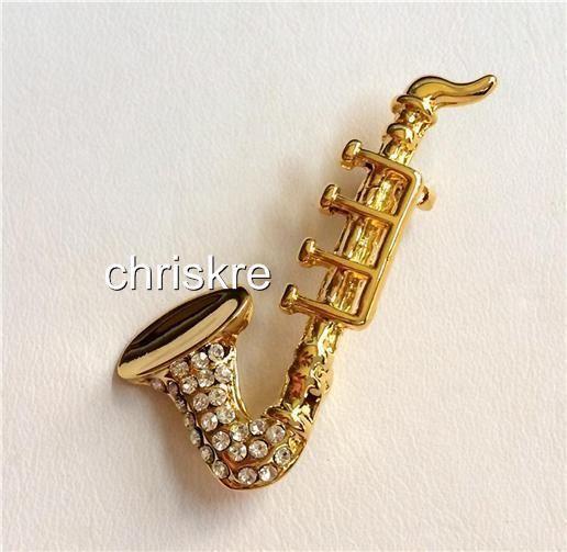 Gold Crystal Sax Saxophone Pin Brooch Elegant Crystals
