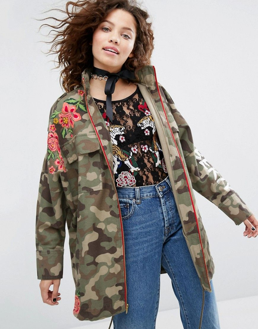 26f277171 H! By Henry Holland Camo Jacket With Floral Embroidery - Green ...