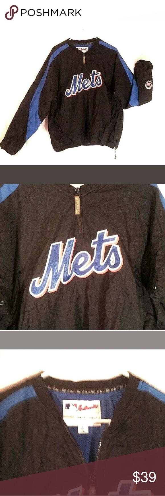 new style 0088b b4524 New York Mets Warm Up Jacket Pre Owned Black Blue Orange ...