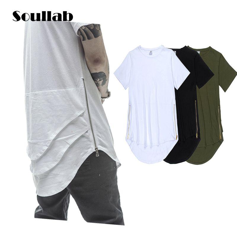 a9a7c241e1e97 Cheap Oliva Cremallera Lateral Extendido Para Hombre Hip Hop Hiphop Swag de  Larga Casual T Shirt