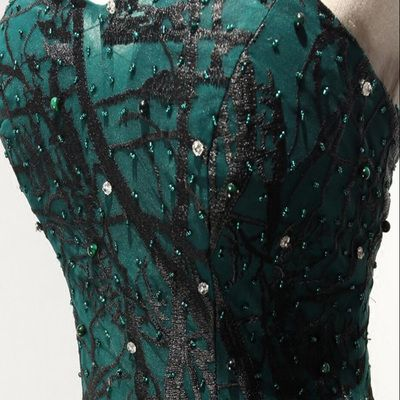 dark green black lace tulle prom dresses affordable