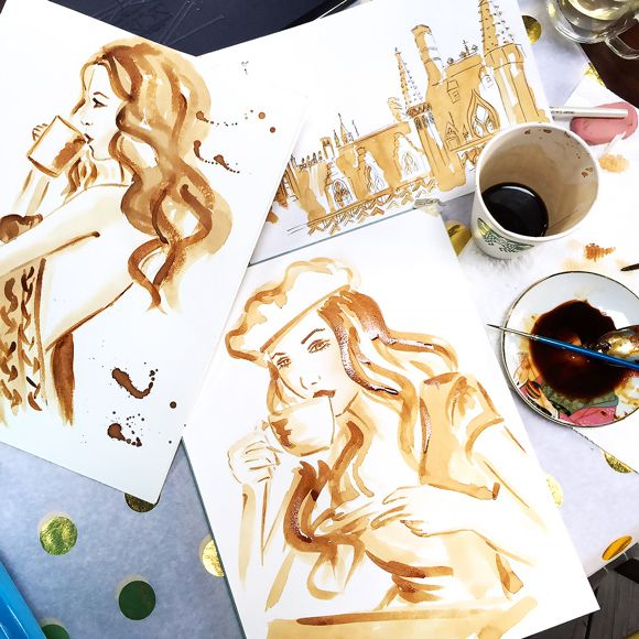 coffee painting, coffee art, painting with coffee, art ...
