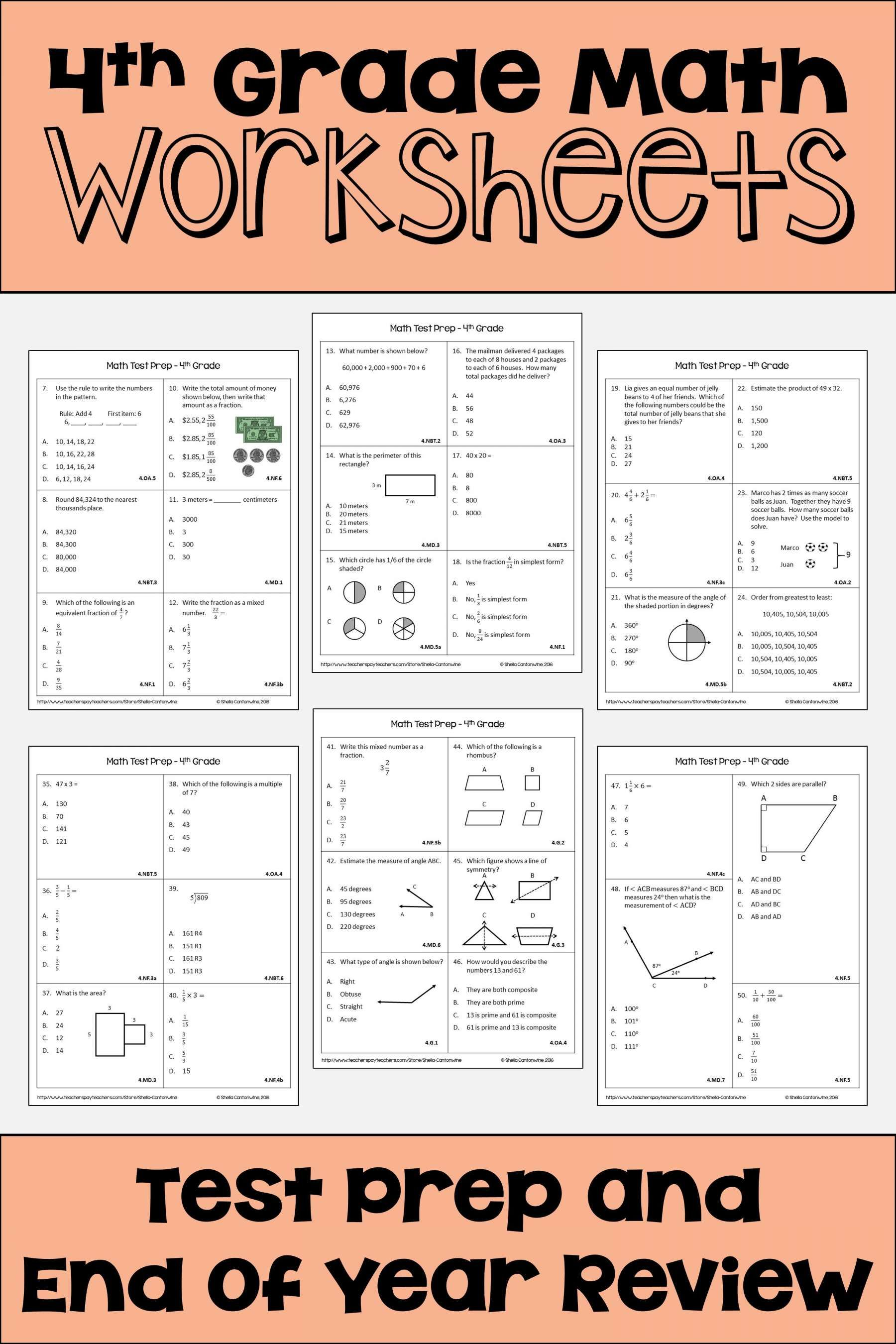 7 4th Grade Math Test Prep Worksheets