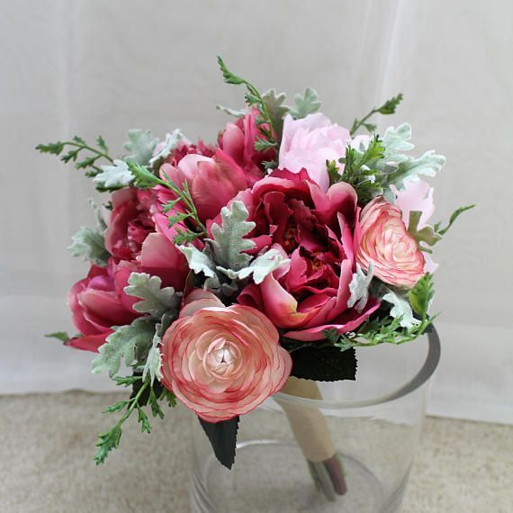 Hot pink light pink and green color bouquet used silk flower used silk flower peony ranunculus and dusty miller natural color ribbon on the handle bouquet size is approx 85 wide 105 tall mightylinksfo