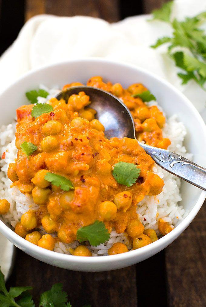 Kichererbsen-Curry mit Kokosmilch #veganerezeptemittag