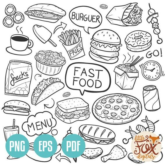 Fast food doodle vector icons day restaurant menu doodle