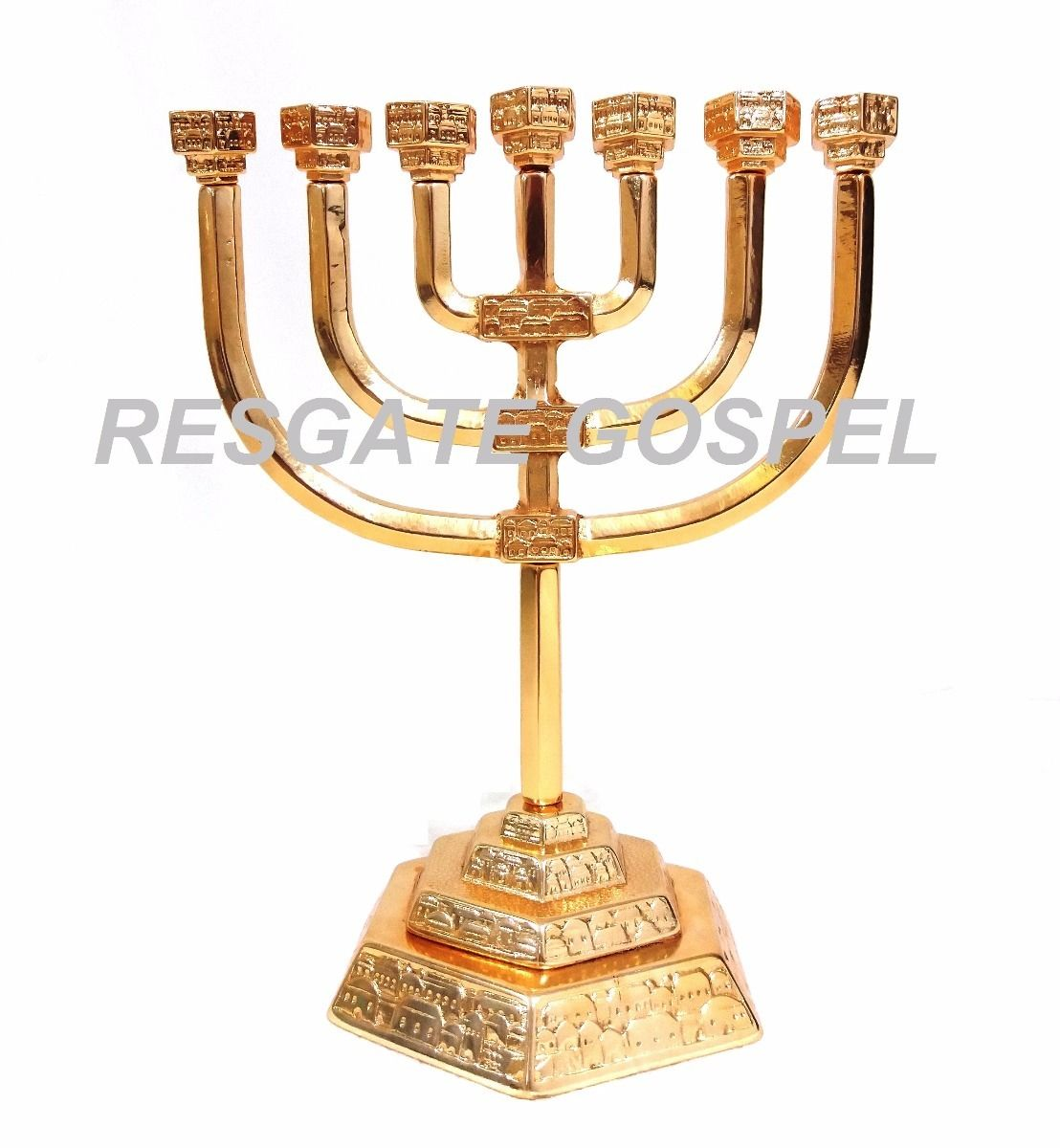 Menorah Castical 7 Bracos Candelabro Menorah Menora Medio Cidade Jerusalem Folheado Menorah Candelabro Casticais Altos