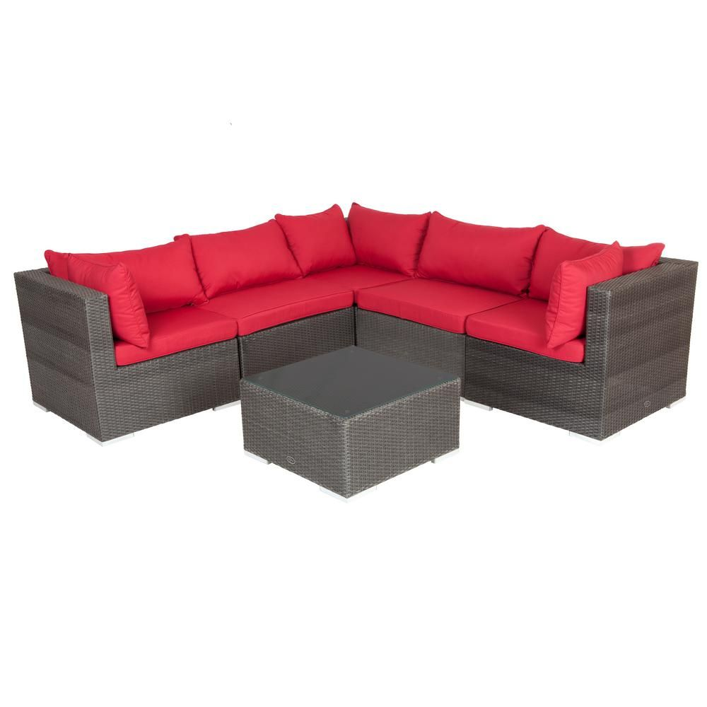 Patio Sense Sino Mocha All Weather Wicker Patio Sectional Sofa Set With Red  Cushion And Table
