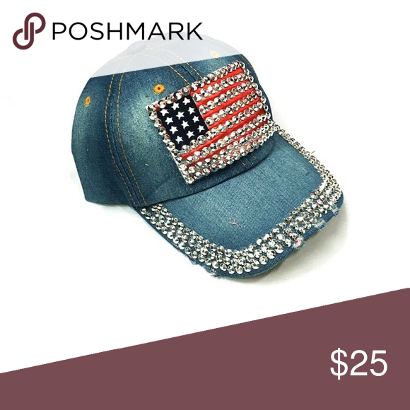 Bedazzled USA Denim Cap Stunning jeweled American Flag denim cap.  Adjustable back. Bundle for 2 and more Sidekicks Accessories Hats 790f0d02ad7