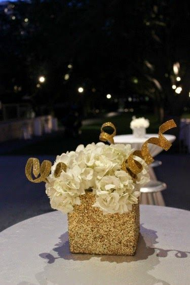 Gold centerpieces wedding reception http