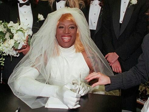 Dennis Rodman Wore A Wedding Dress In  To Promote His Bad As