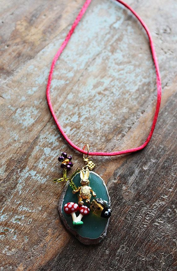 bunny love pendant necklace / agate gemstone by firuzangoker