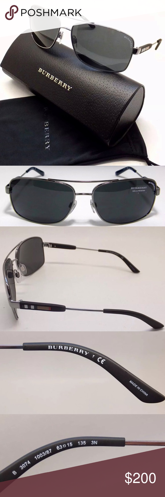 92c7c39f3349 NWT Burberry Mens Gunmetal Grey Aviator Sunglasses 100% Authentic New with  Tags 2 year manufacturers