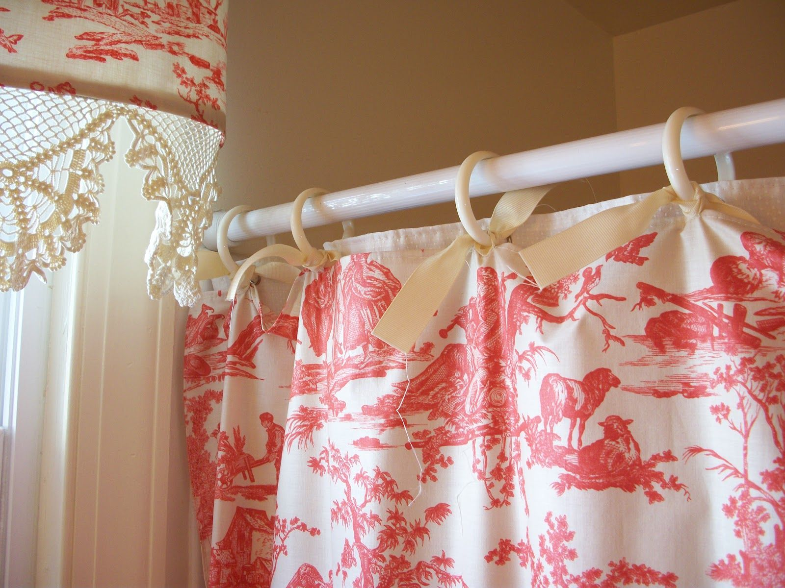 red and cream shower curtain. Retrospect  Red Toile Shower Curtain and Matching Valance March 2012 Pilgrim s Progress Steampunk Style